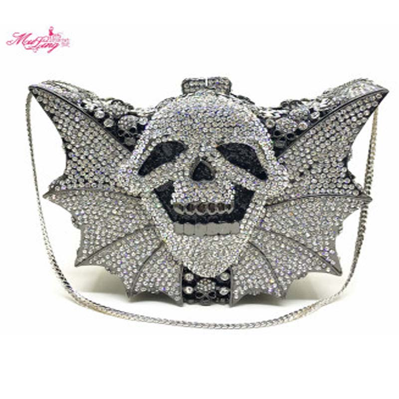 Full Crystal Evening Bags Luxury Diamond Clutch Bags Skull Ghost Bats Shape Evening Clutch Bag Party Bags Lady Purse Cool Wallet 2017 designer handbags high quality women clutch hot luxury crystal full diamond wallet casual evening bags b100b dbb