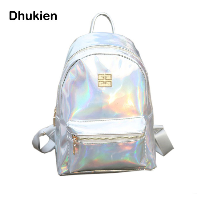 bb1df1fd0 New Small Hologram Backpacks Girl School Bag Shoulder Women Rainbow  Colorful Metallic Silver Laser Holographic Bags