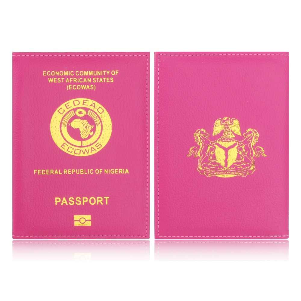 083aa71078b ... TRASSORY Litchi Pattern ECOWAS Federal Republic of Nigeria Travel Leather  Passport Cover Holder Case for Men