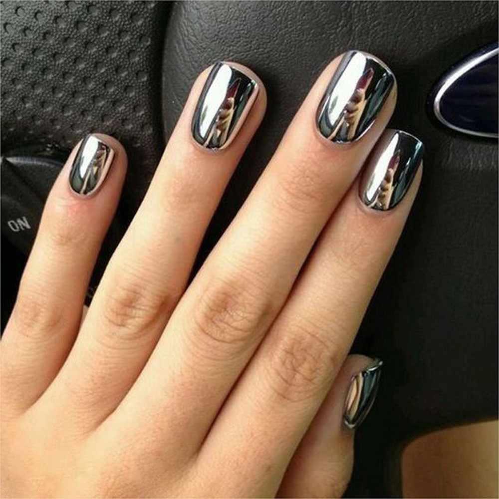 Women Mirror Powder Effect Chrome Nails Pigment Gel Polish Diy