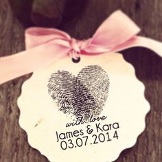 Heart Thumbprint Tags- Save the Date- Personalized Paper Sticker - Wedding Date and Name, Wedding Favors Lable, Candy Box Tags
