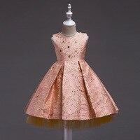 Girls sleeveless hot gold embroidered Princess flower girl tutu children's birthday party dress