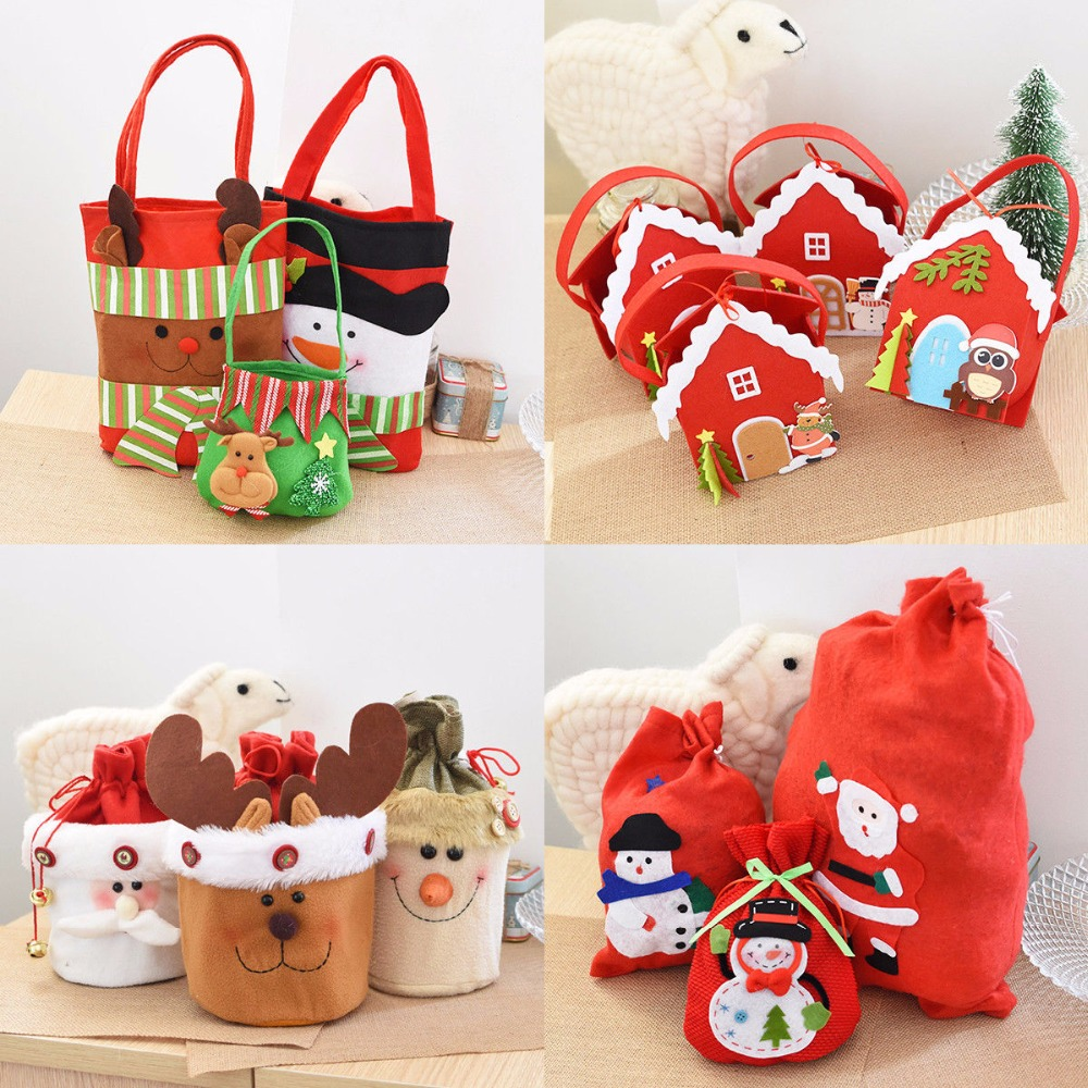 H&D Chrismas Santa Claus Kids Candy Gift Bags Handbag Pouch Wedding Sack Present Bag Chr ...
