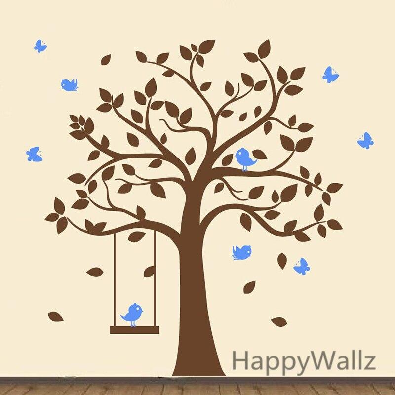 Baby Kinderzimmer Baum Wandaufkleber Vögel Schaukel Baum Wandtattoos - Wohnkultur - Foto 3