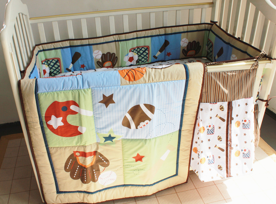 Promotion! 5pcs Embroidery Crib Bedding Baby Nursery Crib Bumper,include (bumpers+duvet+bed cover+bed skirt+diaper bag)