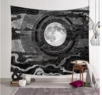 Japanese ukiyoe painted moon tapestry wall decoration black white hanging wall cloth decorative photo tablecloth