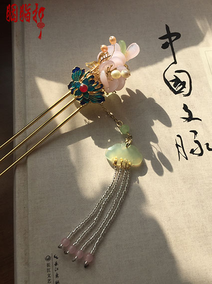 ФОТО Cloisonne Colored Glaze Green Jade Pink Crystal Petal hair stick Hanfu Costume Hair Accessories Hair jewelry