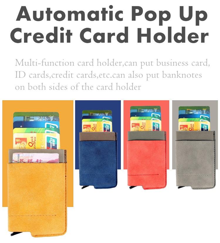 Qoong nuevo rfid bloqueo tarjeta de viaje cartera automtica pop up titular de la tarjeta de crdito reheart Gallery