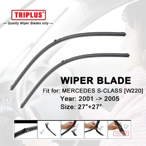Wiper Blade for Mercedes Benz S Class W220 (2001-2005) 1set 27+27,Flat Aero Beam Windscreen Wiper Frameless Soft Blades
