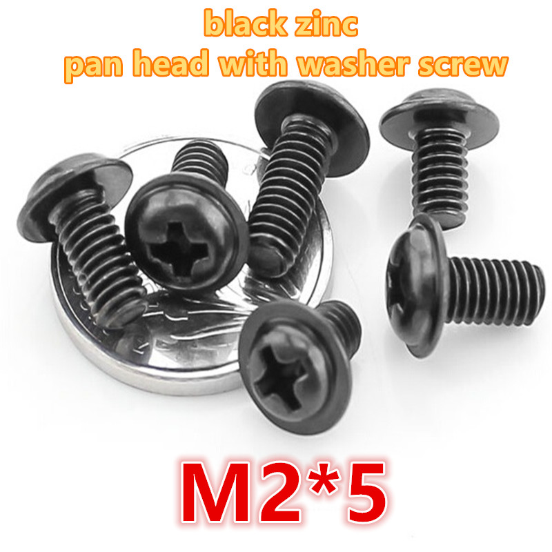 1000pcs m2*5 carbon steel with black zinc plated phillip pan / round head with washer electronic screw computer screw