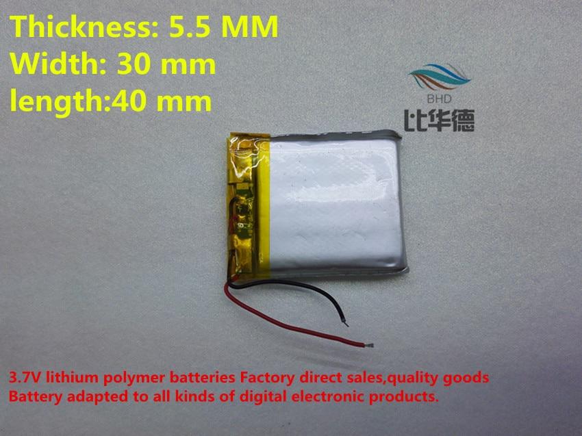 399145975 (10 peças/lote) 553040 570 mah de lítio-ion bateria de polímero de  qualidade de produtos de qualidade de certificação CE FCC ROHS autoridade