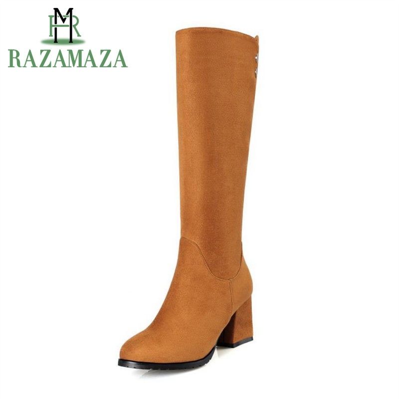 RAZAMAZA Size 32-43 Women Half Short Boots High Heel Boots With Thick Fur Shoes For Cold Winter Short Botas For Women Footwear coolcept size 34 43 women half short thick bottom boots cross strap warm shoes cold winter boots mid calf botas women footwear