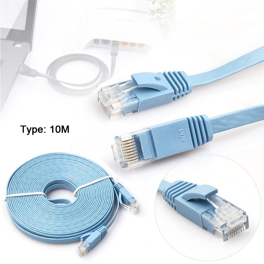 10M High Quality High Speed Cat6 Ethernet Noolde Flat Cable Ultra Thin Design RJ45 Computer LAN Internet Network Cord