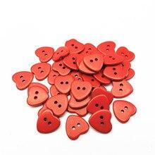 100 шт 15 мм белый/красный/фуксия Смола 2 отверстия Сердце пуговицы для шитья одежда аксессуары кнопка для поделок, скрапбукинга