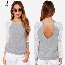 Pinky Is Black 2019 Fashion long-sleeved women tops lace splicing o-neck sweater shirt grey hollow T-shirt clothing female