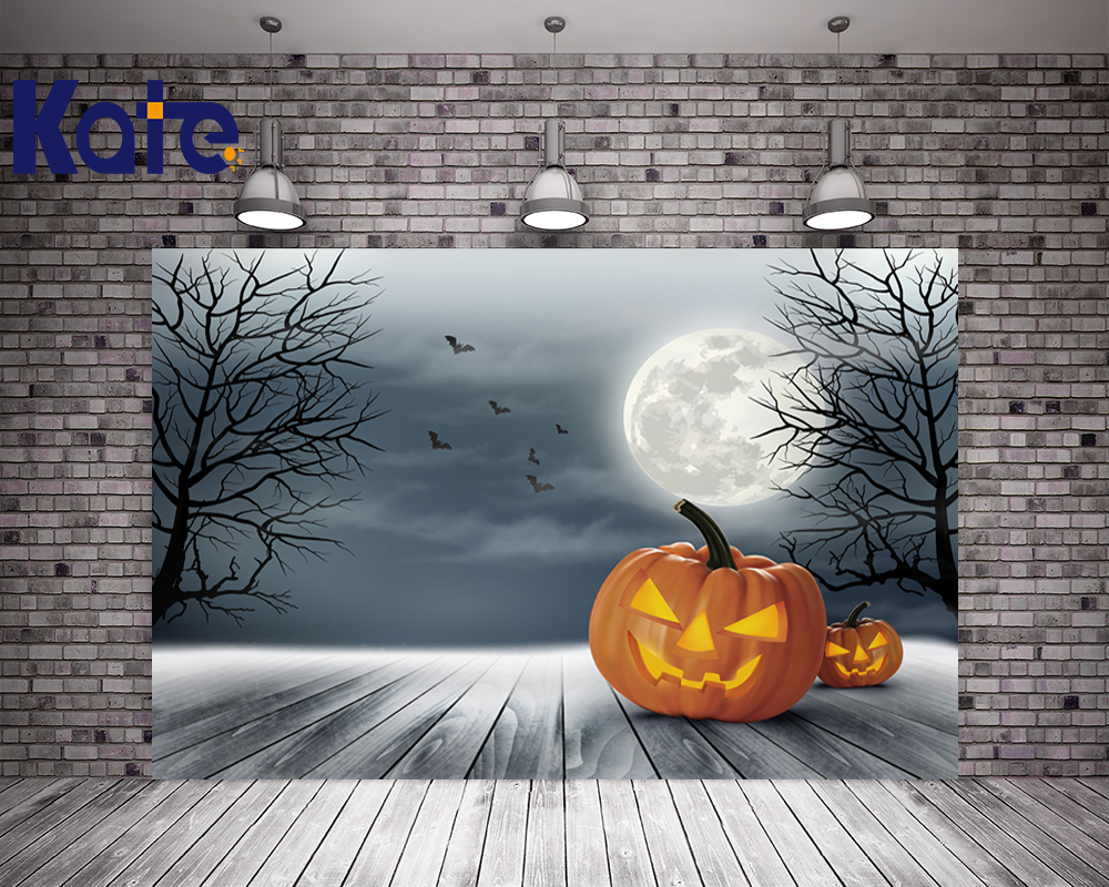 Kate Halloween Backdrops Photography Gray Sky Wood Floor Pumpkin Photo Background Moon For Children Backdrop Studio allenjoy background for photo studio full moon spider black cat pumpkin halloween backdrop newborn original design fantasy props