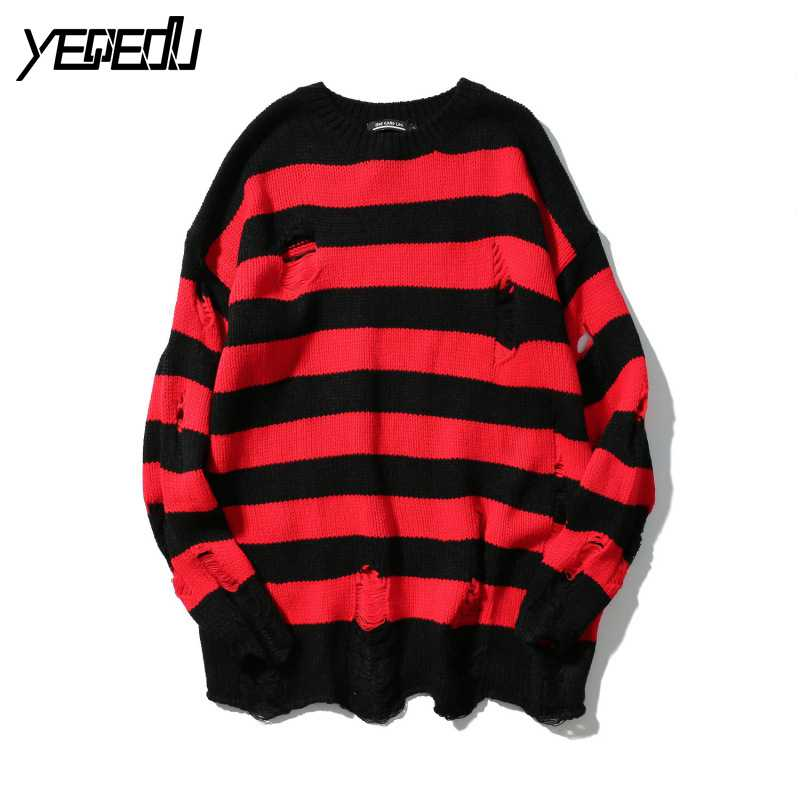 #1502 2019 Spring Autumn Sweaters Red Black Striped Hip Hop Sweater Men With Holes Fashion Oversized High Street Loose Knitted