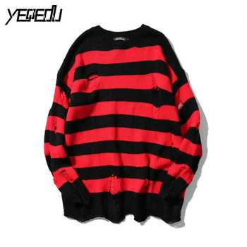#6702 2021 Spring Autumn Sweaters Red Black Striped Hip Hop Sweater Men With Holes Fashion Oversized High Street Loose Knitted - discount item  20% OFF Sweaters