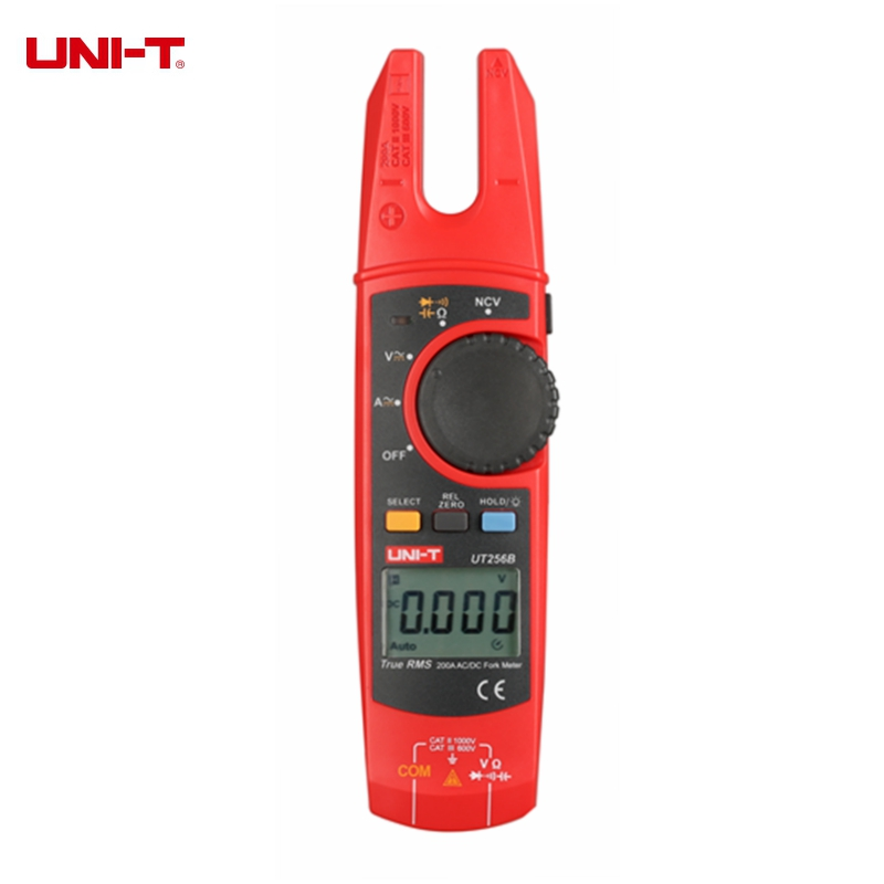 UNI-T UT256B 200A True RMS Fork Meters Digital Clamp Meter Multimeter AC DC Voltage Current Resistance Capacitance NCV Tester uni t ut216a auto range multimeter mini true rms digital clamp meter w ncv capacitance ac dc voltage current tongs ohm tester