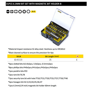 "Image 5 - Stanley 31 stks 1/4 ""drive hexgaon torx pozidriv platte etc. 25mm schroevendraaier bit kit met magnetische boren houder extension 60mm"