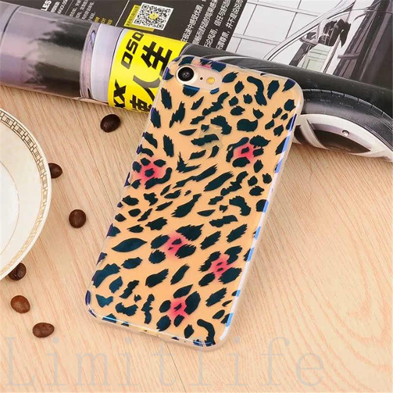 Newest <font><b>women</b></font> style For iPhone 7 7 Plus Phone Case <font><b>Blu-ray</b></font> Leopard grain Soft TPU Phone Protection Shell For iPhone6 6S Plus case