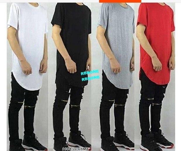 US $18 0 |Swag Black,White,Red gray Tee Plaid Long Back Streetwear Swag Man  HipHop Skateboard Tyga T shirt T shirt Top Tees Men Clothing-in T-Shirts