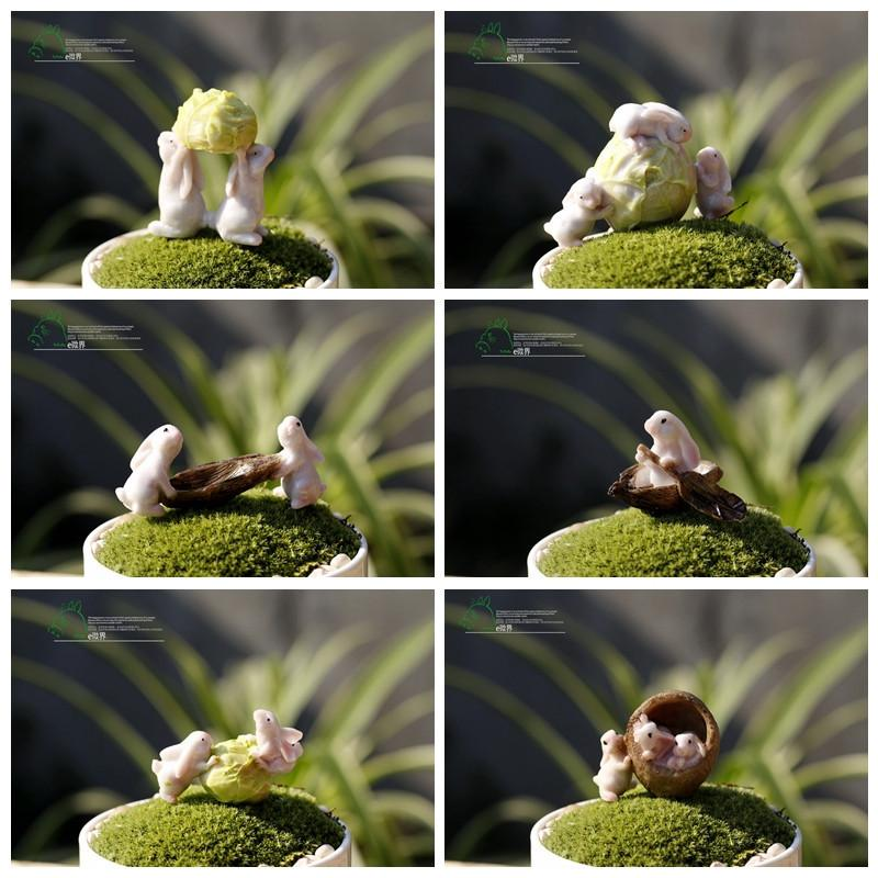 2017 New Portal Totoro 6pcs/lot Rabbit Ornaments Dolls Garden Miniatures  Gnome Moss Terrarium Decor