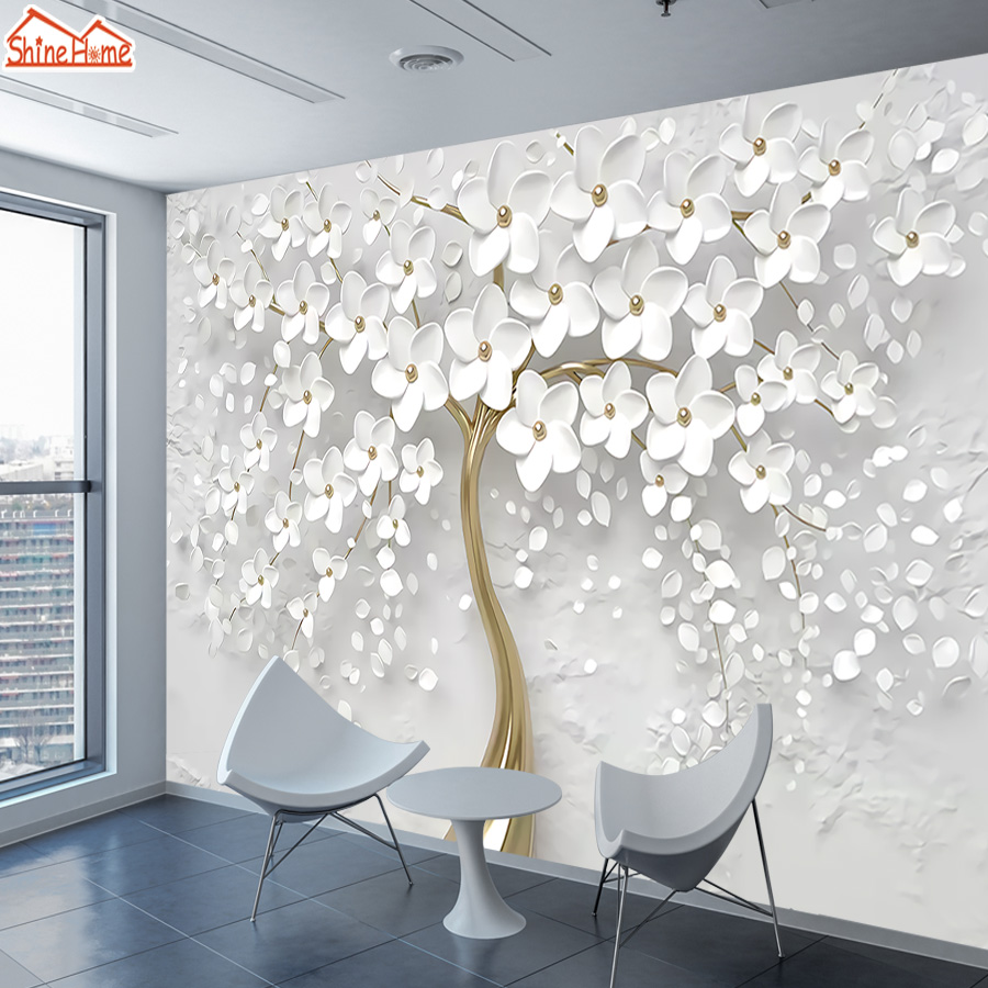3d Wallpaper Photo Murals Roll Wall Papers Home Decor Paper Wallpapers for Living Room Walls 3 d Picture Tree Flower Background