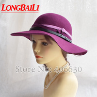 Wool Felt Floppy Hats Women Chapeu Feminino Wide Brim Beach Sun Caps Female Free Shipping PWFR090