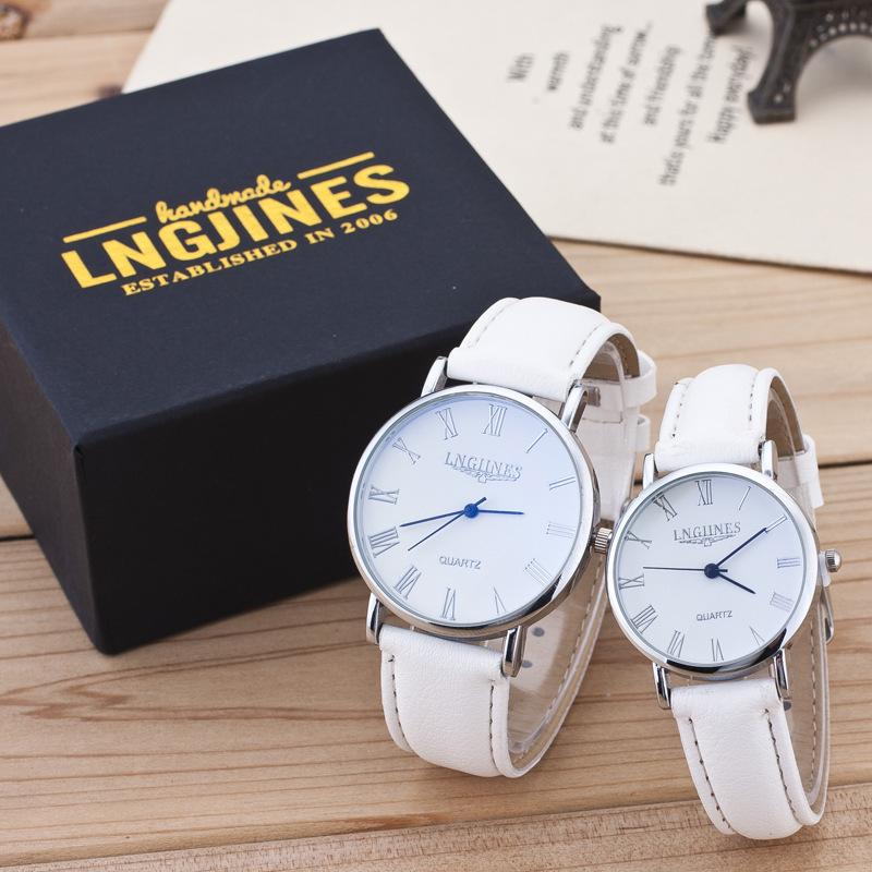 High Quality 2019 Lovers Watch A Pair Of Men And Women White Leather Analog Quartz Waterproof Clock Students Couple Watches Gift