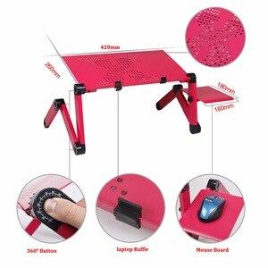 Image 3 - Einstellbar Tragbare Laptop Tischständer Runde Sofa Bett Tablett Computer Notebook Schreibtisch bett tisch mit Maus Bord ZW CD05