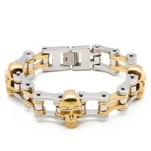 лучшая цена Men's Braclet Punk  Skull biker Bracelet men Golden   Stainless Steel  Bracelets man Jewelry gift for a  man wholesale