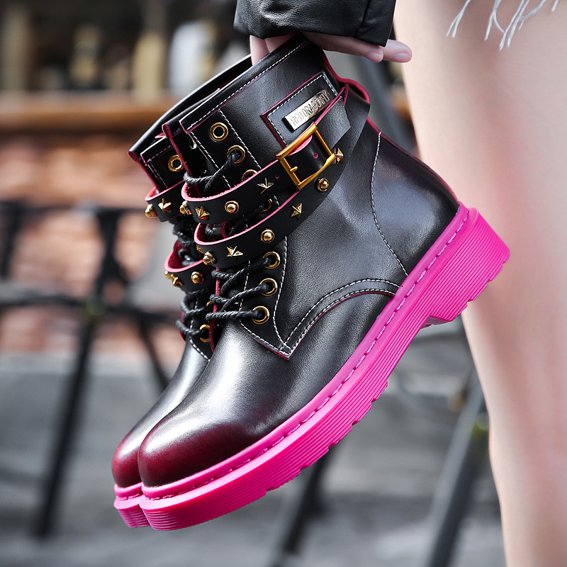 Women Ankle Martin Boots Platform Block Heels Genuine Leather Women Black Fashion Shoes Punk Boots Rivet Buckle Ladies Shoes women martin boots 2017 autumn winter punk style shoes female genuine leather rivet retro black buckle motorcycle ankle booties