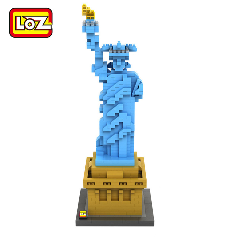 LOZ Statue of Liberty Diamond Building Blocks The World Famous Architecture Model Cultural Heritage Educational Toy Gift mr froger loz taipei 101 tower diamond block world famous architecture series minifigures building blocks classic toys children