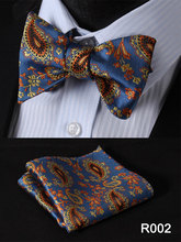Paisley Floral Houndstooth Silk Jacquard Woven Men Butterfly Self Bow Tie BowTie Pocket Square Handkerchief Hanky Suit Set #RF1