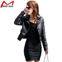 Vintage Women PU Leather Jacket Fashion Slim Thin Biker Motorcycle Soft Faux Leather Zipper Jackets Coat
