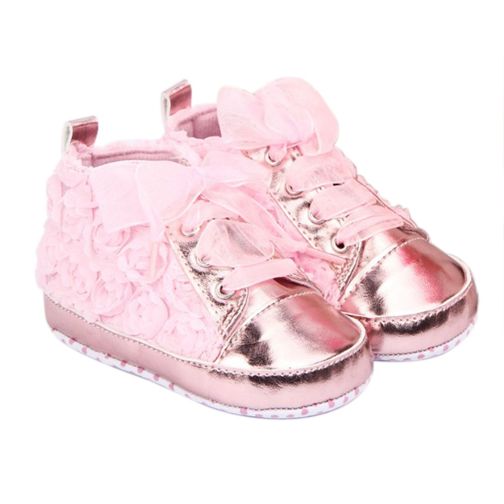 Pink Baby Shoes Girls Toddler Soft Sole with Rose Flowers Children Shoes Infant Lace Shoes