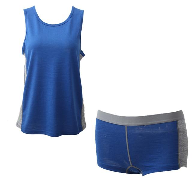 Women's 60% Merino Wool Sports Set Outdoor Hiking Merino Wool Top and Bottom Soft Wicking Breathable Anti-Odor Euro Size 4