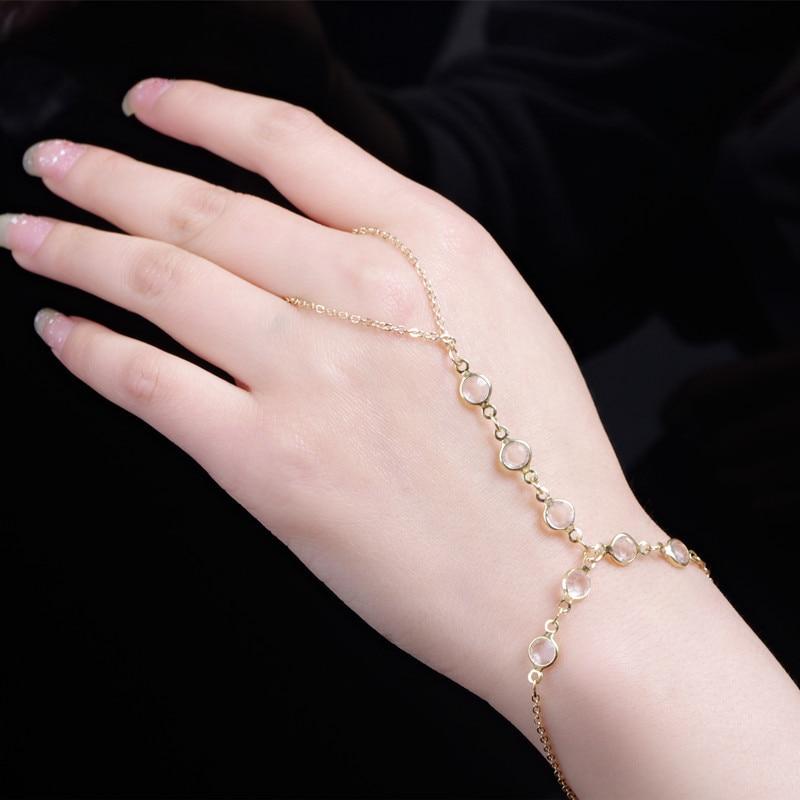Ring Bracelet Chain: Fashion Celebrity Tassel Bangle Multi Layer Crystal