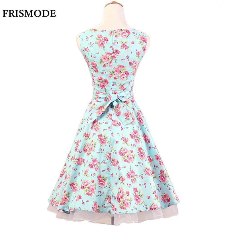 b8619836098 FRISMODE Mint Green 100% Cotton Sleeveless 1950s Swing Dress Summer Fashion  Women Floral Dress Audrey Hepburn Vintage Dresses-in Dresses from Women s  ...