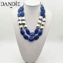 Dandie Acrylic and silver bead necklace, fashion, simple female accessories