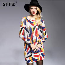 SFFZ Women Long Sweater 2018 New Autumn Fashion Casual Wool Blend Sweater Dress Muticolor Print Knitted Pullovers Oversized 6128