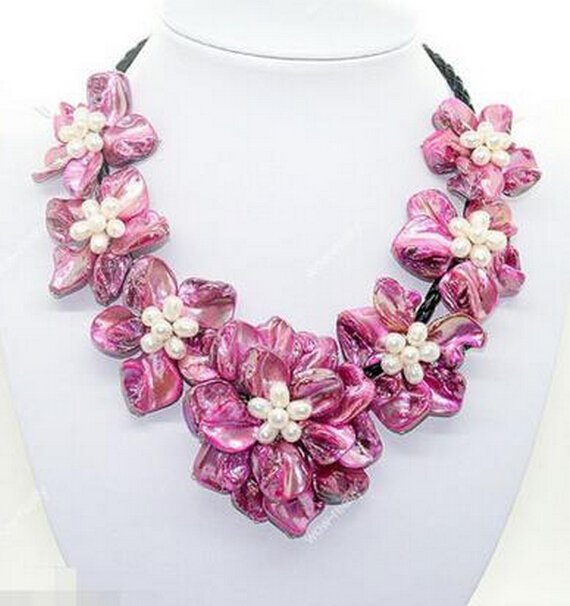 fashion jewel white pearl pink mother of pearl shell weave 7 flower necklace 18