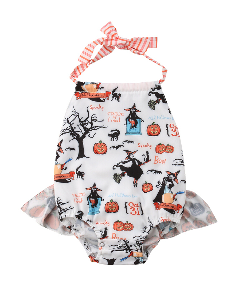 Newborn Infant Kids Baby Girl Halter Pumpkin Romper Jumpsuit Cotton Backless Halloween Cute Playsuit Clothes Outfit 0-24M surplice self tie halter jumpsuit
