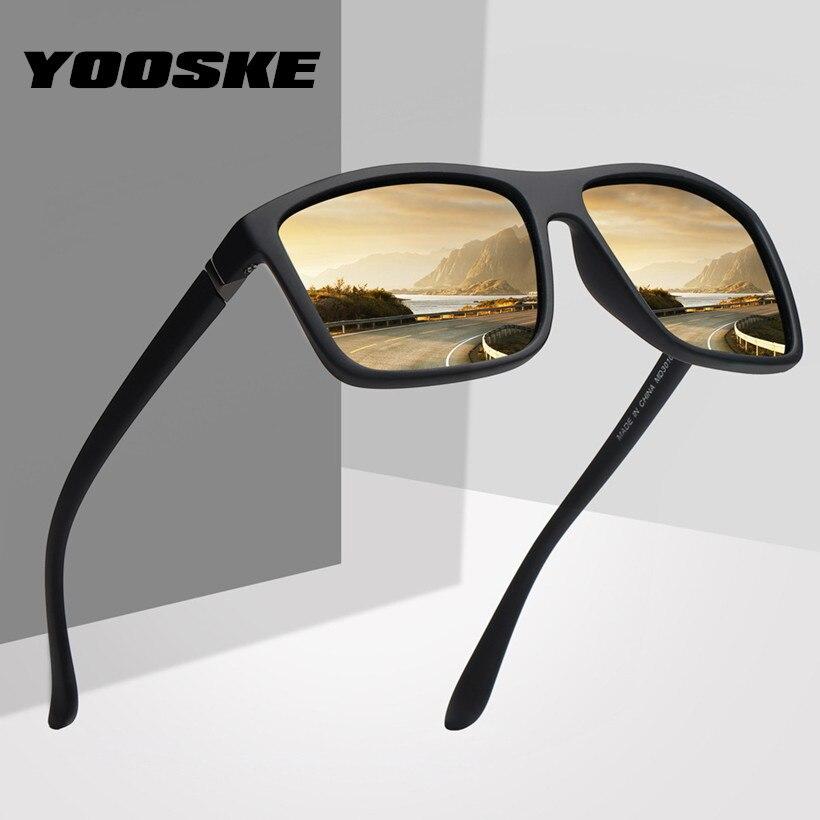 YOOSKE Retro Polarized Sunglasses Men Classic Brand Designer Driving Sun Glasses Male Rectangle Sunglass UV400