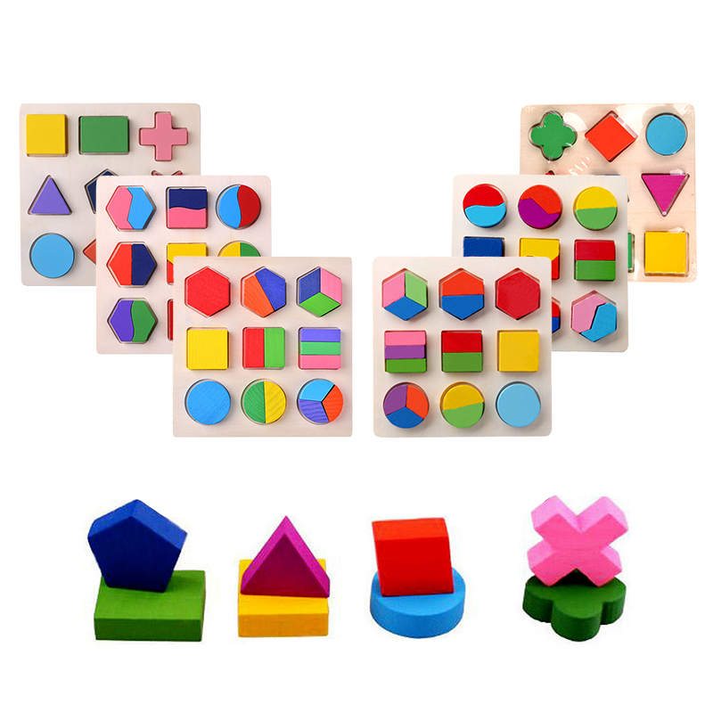 Wooden Geometric Shapes Sorting Math Montessori Puzzle Preschool Learning Educational Game Baby Toddler Toys For Children Gifts