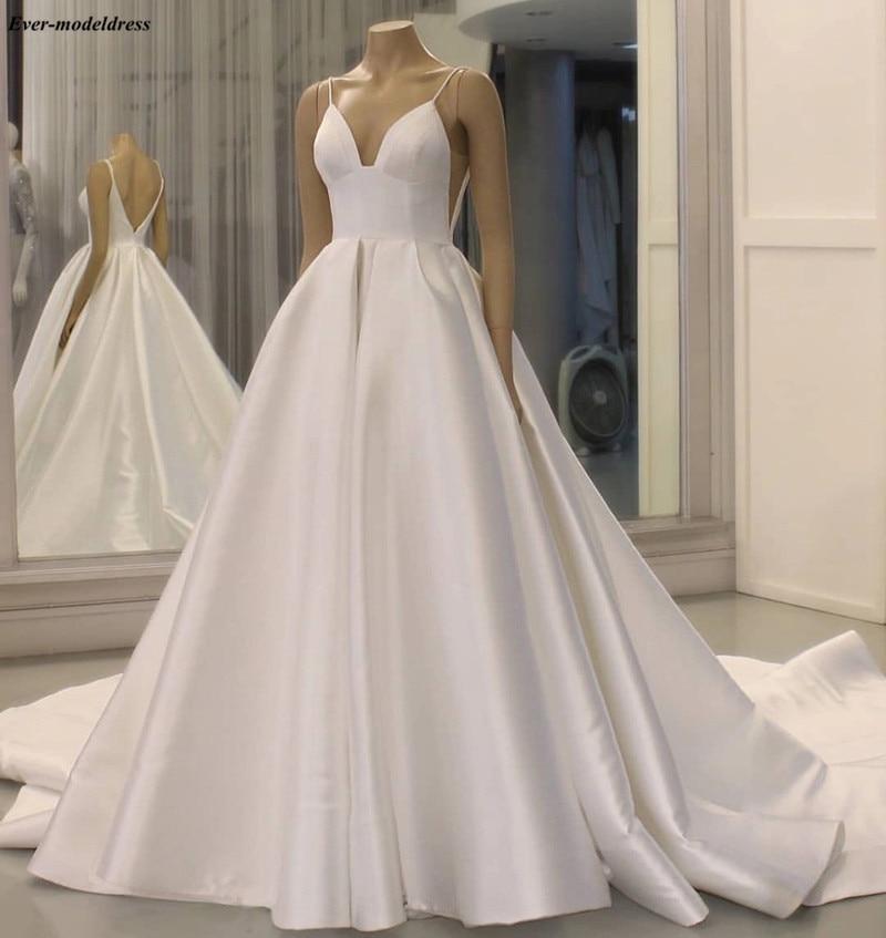 Vestido De Noiva Satin Wedding Dresses 2019 Simple Bridal Gowns Pockets Backless Straps Plus Size Bride Dresses Robe De Mariee