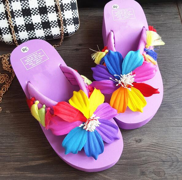 88f9dff26 summer fashion beach flip-flops slope with Colorful sunflower flowers  seaside resort fashion platform shoes slippers sandals