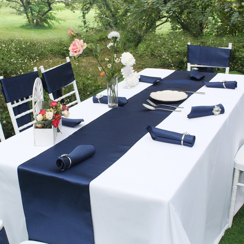OurWarm Satin Elegant Sequin Table Runner Navy Blue Modern Home Table Cloth Cover Hotel Banquet Dinner Wedding Party Decoration