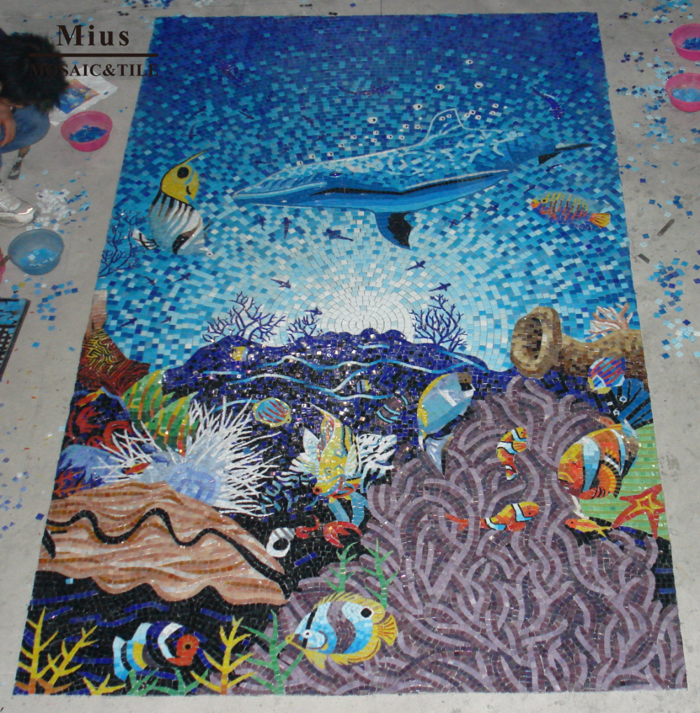 Glass Swimming Pool Tile Mosaic Design